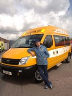Edie McCredie drives into town to launch new Maxus school bus