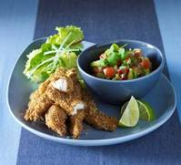 Oaty chicken goujons and sweet chilli salsa