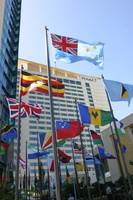 Fifty-plus flags of the Commonwealth countries fly high at the Hyatt Regency Trinidad