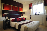 Master bedroom at The Strada, North Fettes in Edinburgh