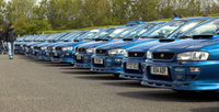 Subrau Impreza P1s turn Prodrive event blue