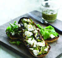 Sophie Wright's Grilled French goat's cheese mini-log and walnut pesto ciabatta
