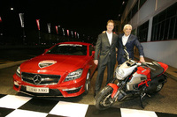 The AMG logo on all Ducati Marlboro Team bikes and racing suits