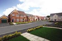 A street scene of new Redrow homes at Sandhurst Gardens, Chorley