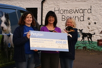 Petplan's Carol Jones, with Dumfries & Galloway Canine Rescue Centre staff