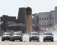 140 tonne chimney demolished by new Volkswagen pick-up