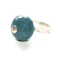 Rok Chix Silver and Blue Quartz Cocktail Ring
