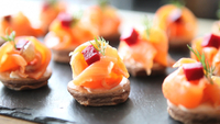 Fred Ponnavoy's Chocolate Blinis with Smoked Salmon and Poached Lemon