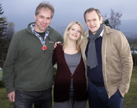 David Jackson of Castlerigg Holiday Park (left) with Love Life actors Andrea Lowe and Alexander Armstrong