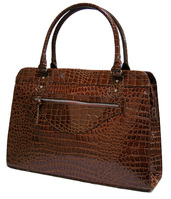 Tan laptop handbag in patent croc effect
