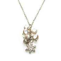Silver Snowflake and Pearl Necklace