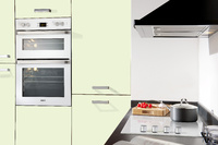 Beko white glass built-in oven and hob