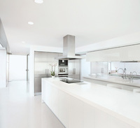 Pure white quartz worktop from Okite