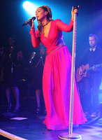 Leona Lewis radiates in Ariella Couture at G.A.Y gig