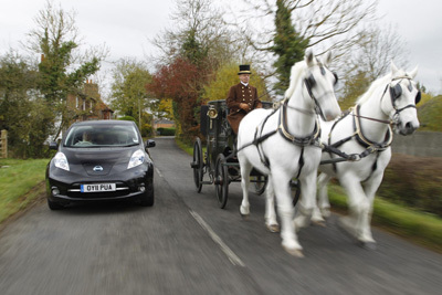 Electric Car Versus Horse And Carriage Easier