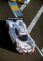 Le Mans-winning Porsche 911 GT1 '98 in action at Silverstone Classic
