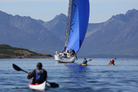 Yachts and kayaks on Ayrshire and Arran's Watersportscoast