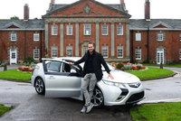 England cricket star Michael Vaughan bowled over by a Vauxhall Ampera