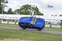Jaguar F-Pace thrills Goodwood with dramatic two-wheeled ride